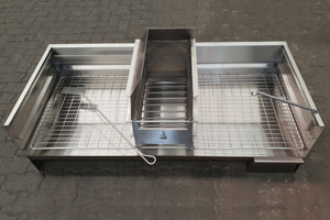 1000mm Stainless Steel Ashpanbraai with coalmaker and 2 grids