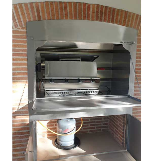 After - Insert  Gas braai with curved lintol and bottom frame and doors
