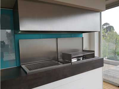 Stainless canopy with drop-in wood and gas BBQ