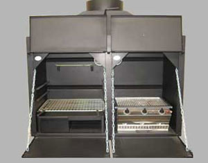 1200 mm Combination braai - with divider (2 sets doors) and 3Burner Chad-o-Chef